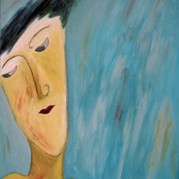 "George Mullen, A Glance Away, 1995, 28"" x 22"", oil on canvas. Copyright © 1995 George Mullen. All Rights Reserved."