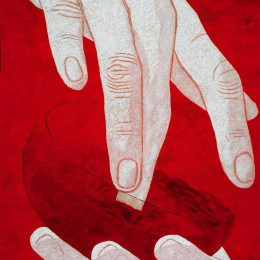 "George Mullen, The Hands of God - the Seventh Day, 1998, 60"" x 48"", oil on canvas. Copyright © 1998 George Mullen. All Rights Reserved."