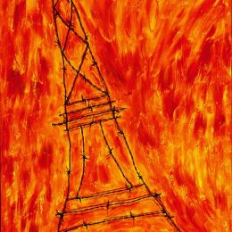 "George Mullen , Paris Art: A Death in Paris, 1997, 48"" x 24"", barbwire and oil on canvas. Copyright © 1997 George Mullen. All Rights Reserved."