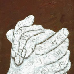 "George Mullen, The Hands of God, 1998, 12"" x 9"", oil on canvas. Copyright © 1998 George Mullen. All Rights Reserved."