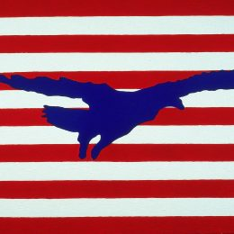 "George Mullen, Flag of The CyberNation of Freedom (The Freedom Flag), 1999, 24"" x 36"", oil on canvas. Copyright © 1999 George Mullen. All Rights Reserved."