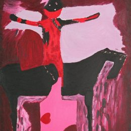 "George Mullen, Marini in Red, 1993, oil on canvas, 16""x20"". Copyright © 1993 George Mullen. All Rights Reserved."