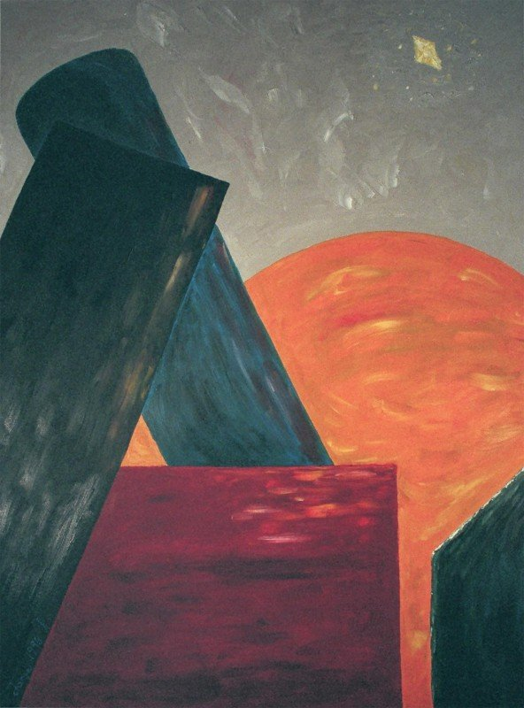 """George Mullen, New York at Dusk, 1996, oil on canvas, 30""""x40"""". Copyright © 1996 George Mullen. All rights reserved."""