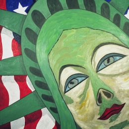 "George Mullen, American Woman, 1997, oil on canvas, 48""x36"", Copyright 1997 George Mullen."