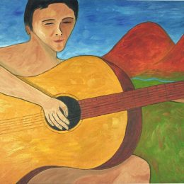 "George Mullen, The Nude Guitarist, 1997, oil on canvas, 24""x48"". Copyright © 1997 George Mullen. All rights reserved."