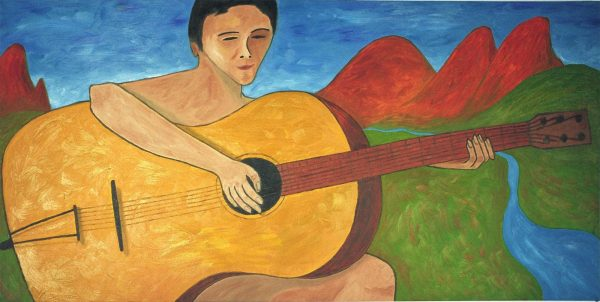 George Mullen, The Nude Guitarist, 1997, oil on canvas, 24