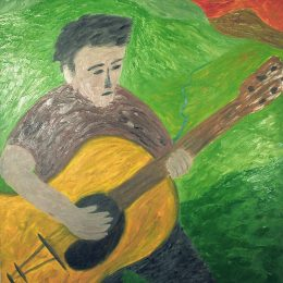 "George Mullen, The Lonely Guitarist, 1997, oil on canvas, 40""x30"". Copyright © 1997 George Mullen. All rights reserved."