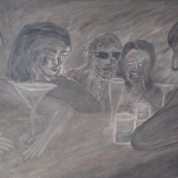 "George Mullen, Sevilla Nights - The Last Drink (Christos Appears), 2009, 24"" x 36"", oil on canvas. Copyright © 2009 George Mullen. All Rights Reserved."