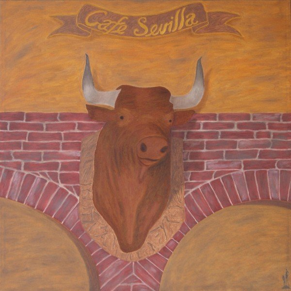 "George Mullen, Sevilla Nights - The Horny Bull, 2008 - 2010, 36"" x 36"", oil on canvas. Copyright © 2010 George Mullen. All Rights Reserved."