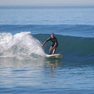 Mullen surfing in Del Mar, California.